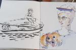 Dessin d'Olya et sa maitresse • promenade en barque  • été 2020